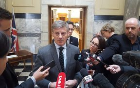 Prime Minister Bill English speaks to media following the attack in Manchester.