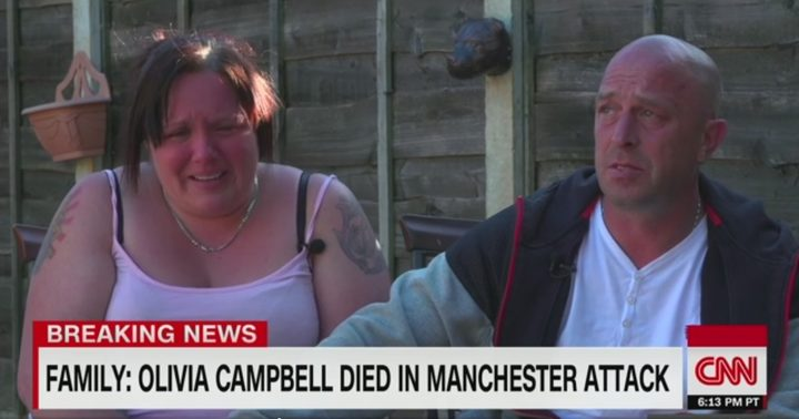CNN interviewing the parents of a girls killed in the Manchester bombing.