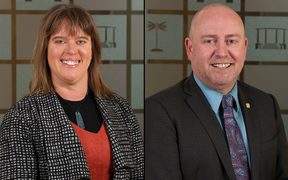 New Invercargill deputy mayor Rebecca Amundsen, and her predecessor Darren Ludlow.