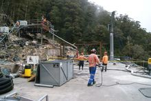 Solid Energy crew on the Pike River mine vent shaft platform.