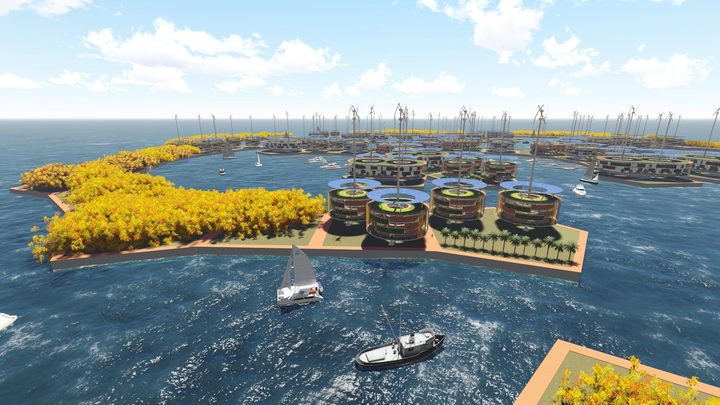 "Artist's impression of ""Storm Makes Sense of Shelter"" a winning entry in the Seasteading Institute's design competition for a floating city."