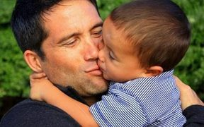 Dr Lance O'Sullivan with his son.