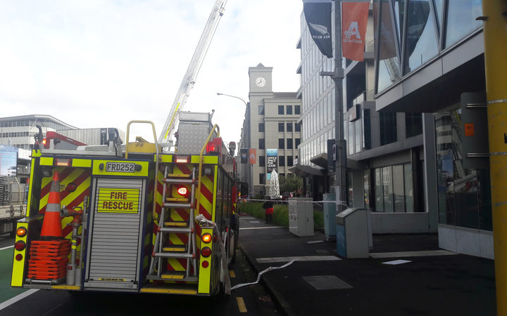 A fire truck at the cordoned off scene of the building fire in Fanshawe Street, central Auckland