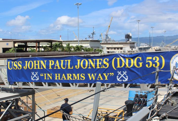 "USS John Paul Jones is filled with young men and woman serving under the motto ""In Harm's Way""."