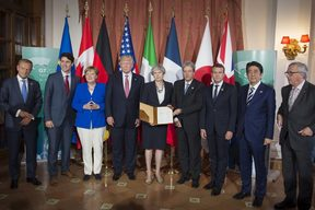 EU council President Donald Tusk  Canada PM Justin Trudeau, German chancellor Angela Merkel, US president Donald Trump, Great Britain PM Theresa May, Italy's PM Paolo Gentiloni, president of France Emmanuel Macron, Japan PM Shinzo Abe and president of the EU commission Jean-Claude Juncker.