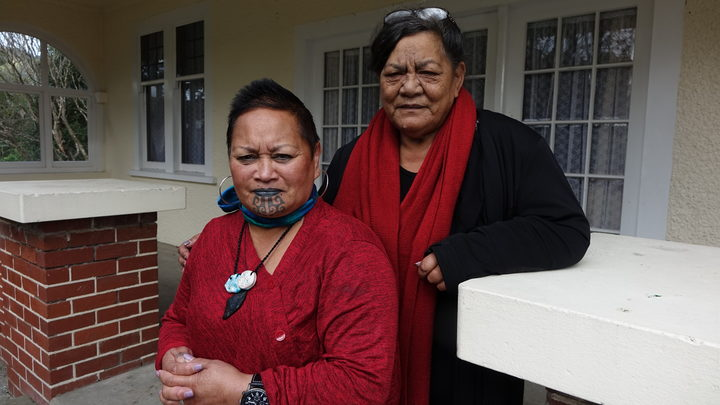 Front Charmaine McClean-Whaanga and back Rau Sparrow, social workers for Koraunui Marae.
