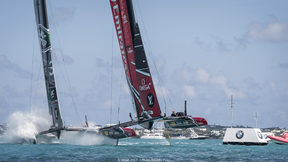 Team New Zealand racing Land Rover Bar in day 2 of qualifying races for the America's Cup. 28 May 017, Bermuda.
