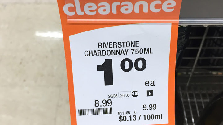Countdown's Northcote supermarket was selling Riverstone Chardonnay for just $1 on Friday.