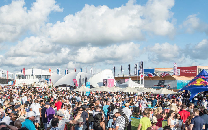 Crowds at the America's Cup Village in Bermuda.