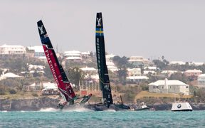 Team NZ and Sweden battle during the America's Cup.