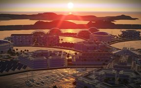 "Artist's impression of ""Artisanopolis"" one of the winning architectural concept designs in a Seasteading Institute design competition for a floating city."
