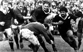 Ian Kirkpatrick and Billy Bush in action during the 2nd rugby union test match between the All Blacks and British & Irish Lions, Christchurch, 1977.