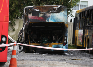 One of the damaged buses at the Karori depot.