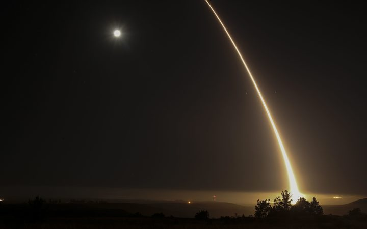 The US military test fires a system to bring down unarmed intercontinental ballistic missiles at Vandenberg Air Force Base.
