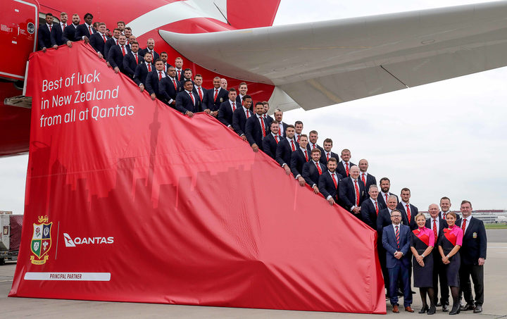 The British & Irish Lions touring party before departing for New Zealand.