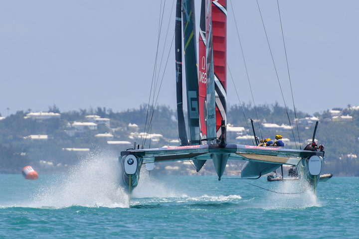 Emirates Team New Zealand skippered by Peter Burling during the Louis Vuitton Americas Cup Qualifiers, Day 4 of racing in The Great Sound of Hamilton, Bermuda on May 30th, 2017.