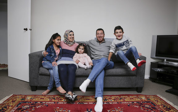 Brighter Futures project. Syrian refugee family.  Lin Youssef (8), Majed Burhan (Mother), Najwa Youssef (2), Ibrahim Youssef (Father), Ahmad Youssef (6)