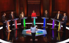 The BBC televised debate included, from left, Lib Dem leader Tim Farron, Labour leader Jeremy Corbyn, Green co-leader Caroline Lucas, Plaid Cymru leader Leanne Wood, Home Secretary Amber Rudd, , UKIP leader Paul Nuttall and Scottish National Party deputy Angus Robertson.