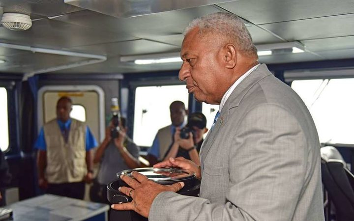 Fiji PM Frank Bainimarama tours the HMNZS Hawea, a patrol vessel deployed to Fiji for six months from April 2017 to help patrol Fiji's EEZ