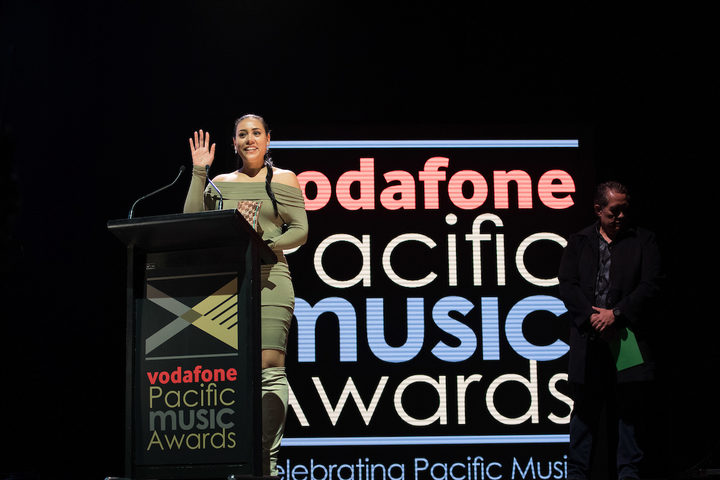 Olivia Foa'i accepting her award for Best Pacific Language Song for 'Tulou Tagaloa'.