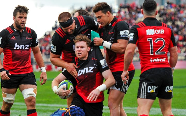 Crusaders celebrates Mitchell Drummond try V Highlanders, Christchurch.