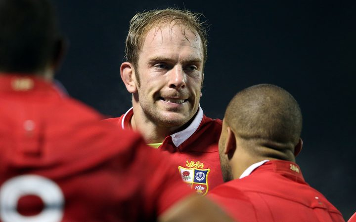 Alun Wyn Jones looks on during the match.