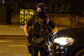 Armed police are deployed near London Bridge after the terror attacks.