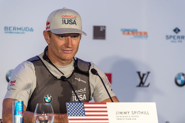Jimmy Spithill at a press conference during the 35th America's Cup Bermuda 2017