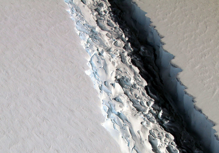 NASA's IceBridge mission photographed a massive rift in the Antarctic Peninsula's Larsen C ice shelf in 2016.