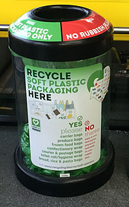 Soft plastics recycling bin