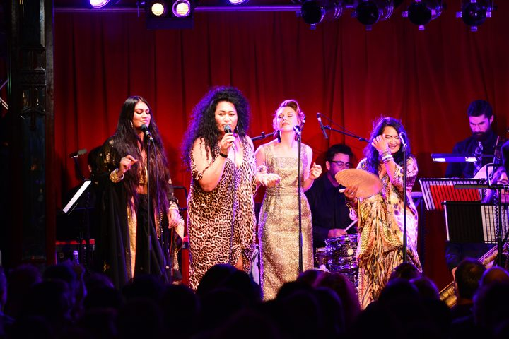 Aaradhna, Bella Kalolo, Esther Stephens and Annie Crummer on stage at the Auckland Festival.