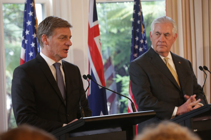 Prime Minister Bill English, left, and US Secretary of State Rex Tillerson at a news conference following their bilateral meeting in Wellington on 6 June 2017.