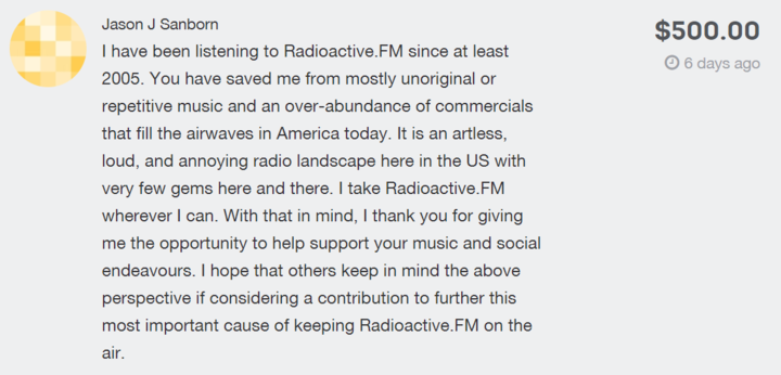 One of the many donations and messages of support that have come in for Radio Active.
