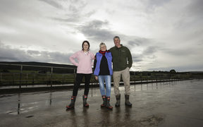 Melissa Mathieson, left, and her parents Dianne and Ewen Mathieson at home on their Southland farm