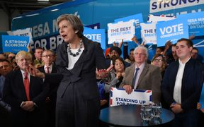 British Prime Minister Theresa May, is accompanied by Britain's Foreign Secretary Boris Johnson as she addresses supporters at a campaign event in Slough in south-east England.