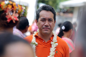This file photo taken on September 28, 2014 shows Marcel Tuihani, the new president of Polynesia's assembly, meeting supporters of the Orange party in Papeete.