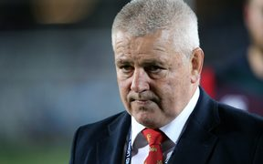 British and Lions coach Warren Gatland looks on during the match against the Auckland Blues.