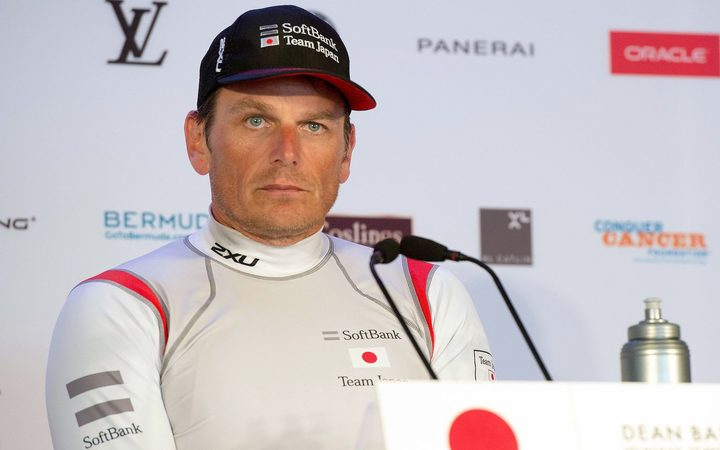 Soft Bank Team Japan CEO and Helmsman Dean Barker at the press conference after losing their final race against Artemis Racing