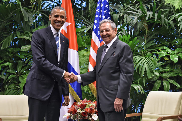 Then US President Barack Obama and Cuban President Raul Castro at a meeting at the Revolution Palace in Havana in March last year.