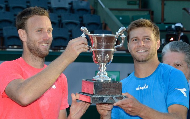Michael Venus and Ryan Harrison after winning the French Open Men's Doubles final.