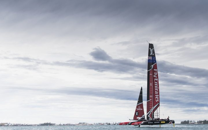 Emirates Team New Zealand, skippered by Peter Burling, races at the 35th America's Cup, in the Louis Vuitton Challenger Playoffs finals.