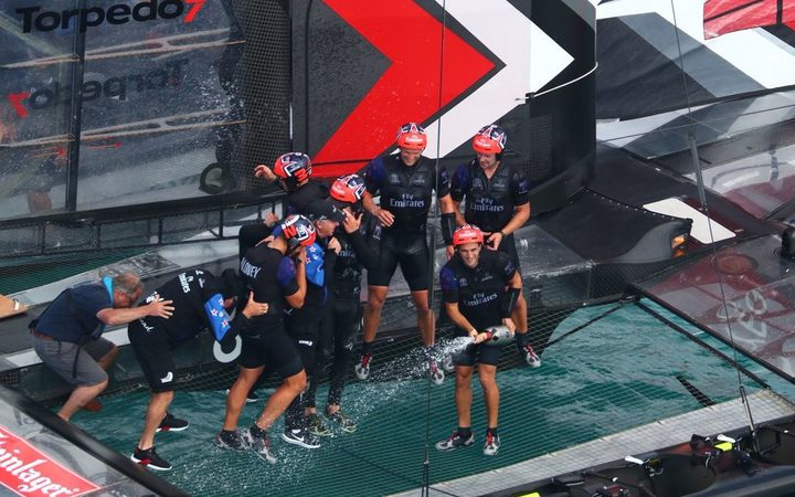 Team NZ celebrate win over Artemis which put them through to the America's Cup match.