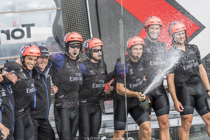 Team New Zealand celebrate their victory as they now head into the finals. Louis Vuitton America's Cup Challenger Playoffs Finals, Day 3 , Day 3.