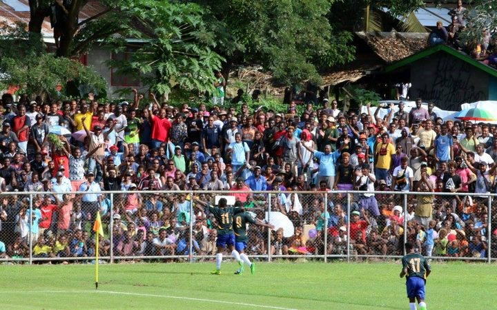 Solomon Islands celebrate a goal in Honiara.