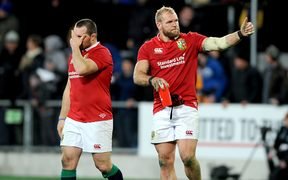 James Haskell of the Lions acknowledges the crowd following their loss to the Highlanders.