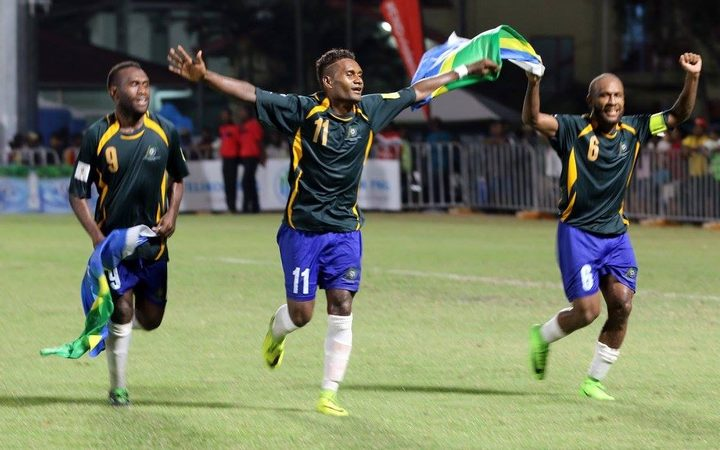 Solomon Islands players celebrate reaching the OFC Stage 3 final against New Zealand.