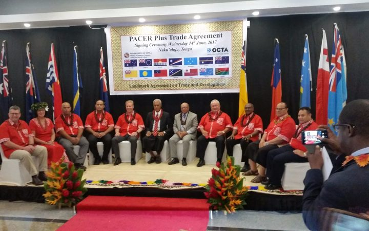 Representatives who signed the PACER Plus trade agreement in Tonga