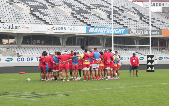 Tonga training ahead of their Pasifika Challenge test against Wales.