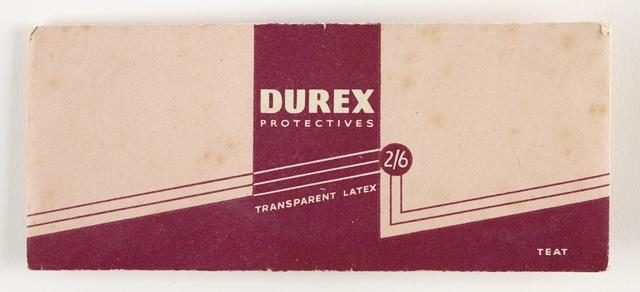 An image of a pacaket of condoms from the 1940s-1950s.