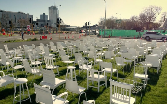 185 White Chairs art installation in Christchurch.